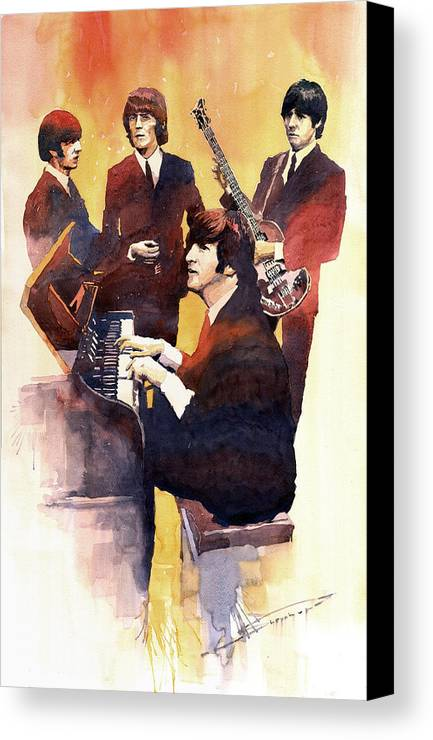 Watercolor Canvas Print featuring the painting The Beatles 01 by Yuriy Shevchuk