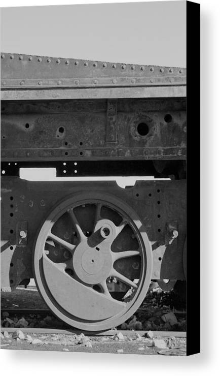 Train Canvas Print featuring the photograph Train Wheel by Marcus Best