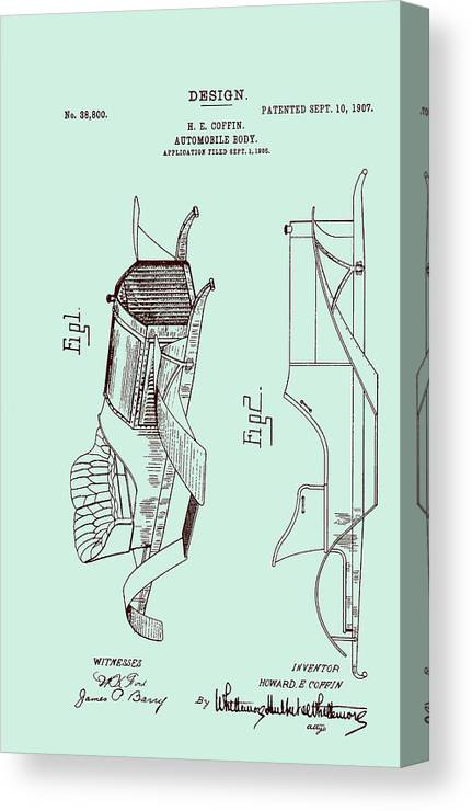 Patent Canvas Print featuring the drawing Automobile Patent 1907 by Mountain Dreams