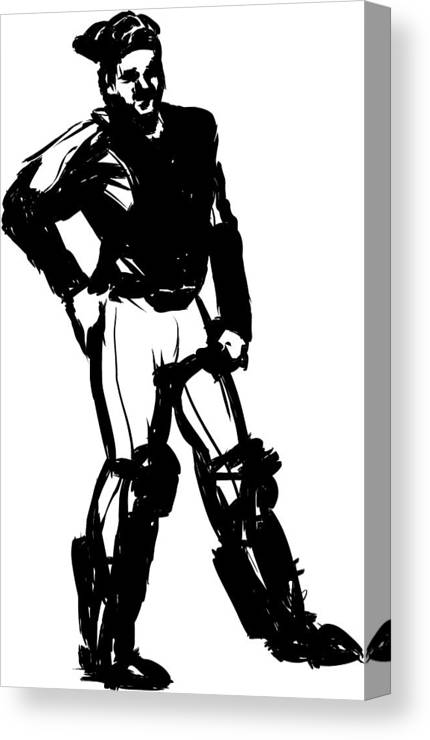 Baseball Player Catcher Pen And Ink Canvas Print Canvas Art By Daj