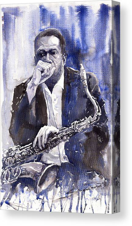 Jazz Canvas Print featuring the painting Jazz Saxophonist John Coltrane Blue by Yuriy Shevchuk