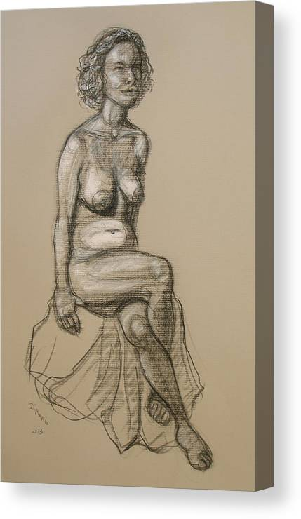 Realism Canvas Print featuring the drawing Marli - Seated Nude by Donelli DiMaria