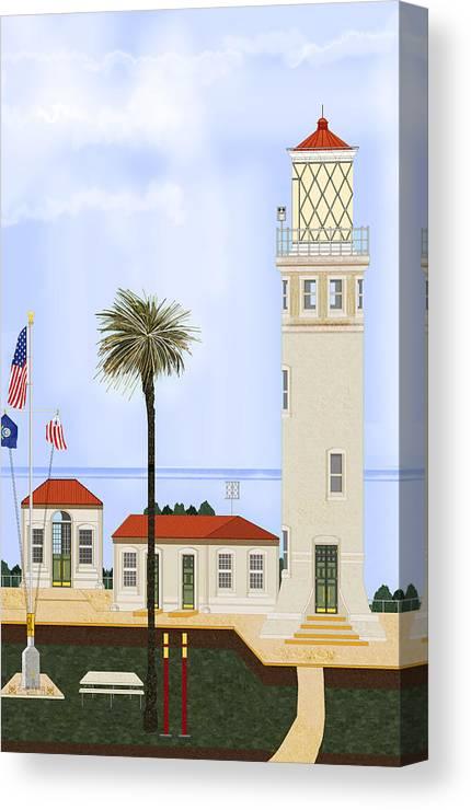 Point Vicente Lighthouse Canvas Print featuring the painting Point Vicente Lighthouse by Anne Norskog