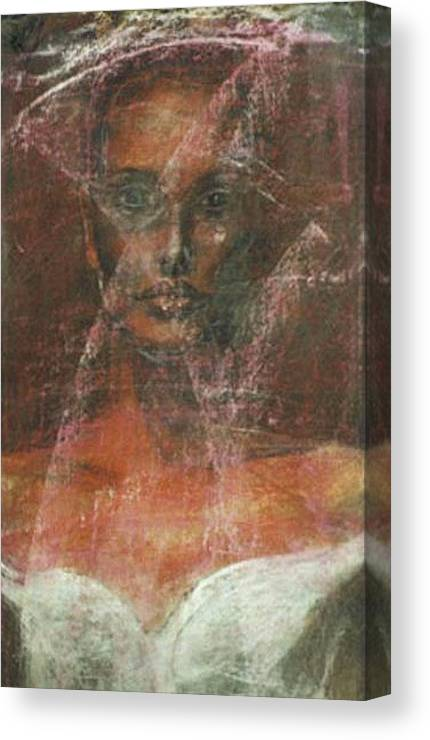 Portrait Art Canvas Print featuring the painting Serious Bride Mirage by Jarmo Korhonen aka Jarko
