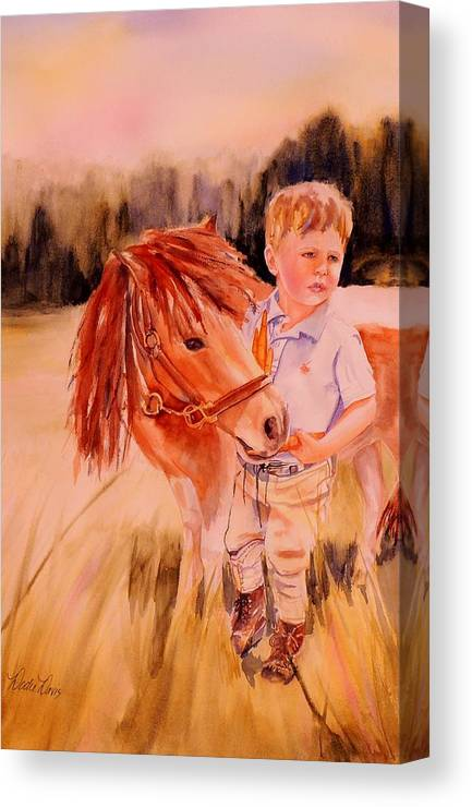 Watercolor Paintings Canvas Print featuring the painting Welles And Jack by Dodie Davis
