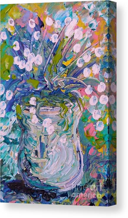Flower Canvas Print featuring the painting White Flower Abstract by Eloise Schneider Mote