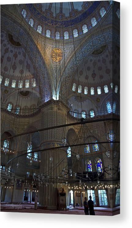 Blue Mosque Canvas Print featuring the photograph Blue Mosque Interior by Cheri Randolph