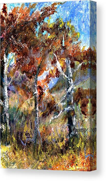 Autumn Canvas Print featuring the painting Fall Trees by Jimmie Trotter
