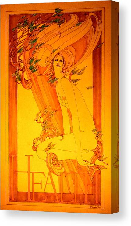 Female Canvas Print featuring the painting Goddess Of Health by Gary Kaemmer