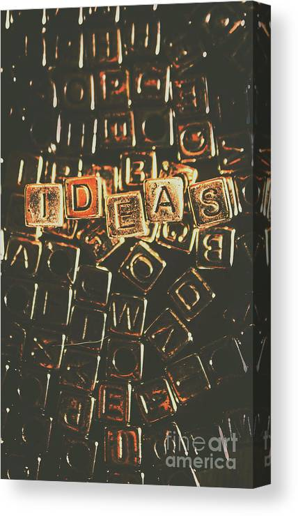 Creative Canvas Print featuring the photograph Ideas Letterpress Typography by Jorgo Photography - Wall Art Gallery