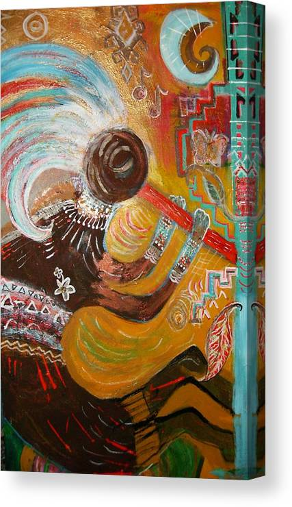 Kokopelli Canvas Print featuring the mixed media Incomplete Koko by Anne-Elizabeth Whiteway