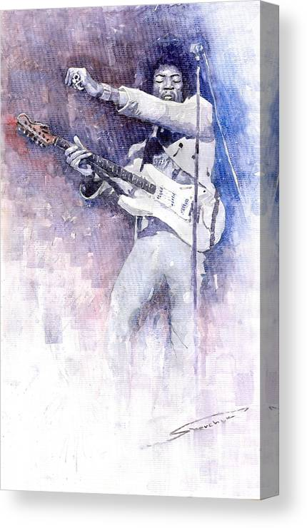 Watercolor Canvas Print featuring the painting Jazz Rock Jimi Hendrix 07 by Yuriy Shevchuk