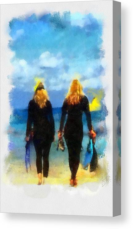 Snorkeling Canvas Print featuring the digital art Snorkeler Twins by Carrie OBrien Sibley