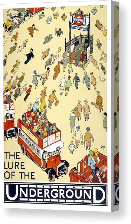 a942cb3f3d3 london Underground Canvas Print featuring the photograph The Lure Of The  Underground 1927 by Daniel Hagerman