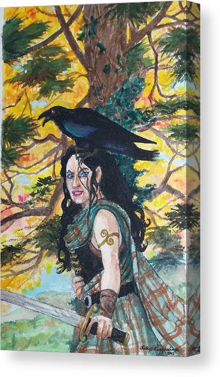 Morrigan Canvas Print featuring the painting The Morrigan #2 by Judy Riggenbach
