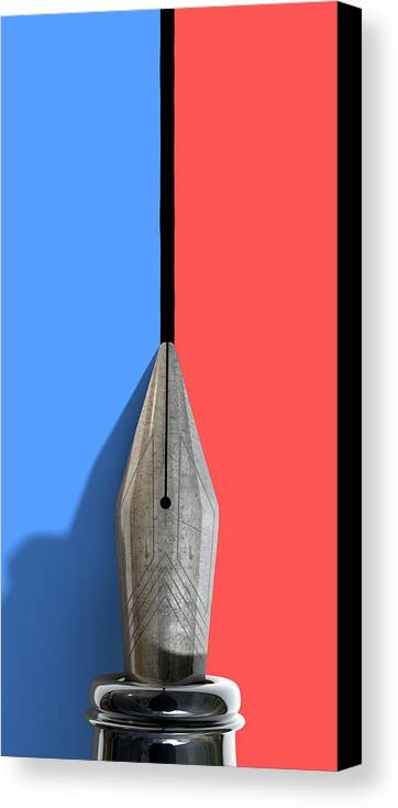 Pen Canvas Print featuring the digital art Drawing The Line by Allan Swart