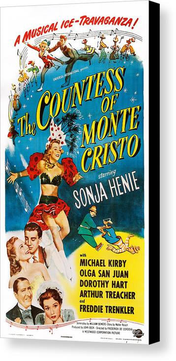 1940s Movies Canvas Print featuring the photograph The Countess Of Monte Cristo, Us Poster by Everett
