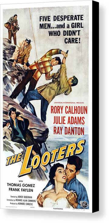 1950s Poster Art Canvas Print featuring the photograph The Looters, Us Poster, Bottom by Everett
