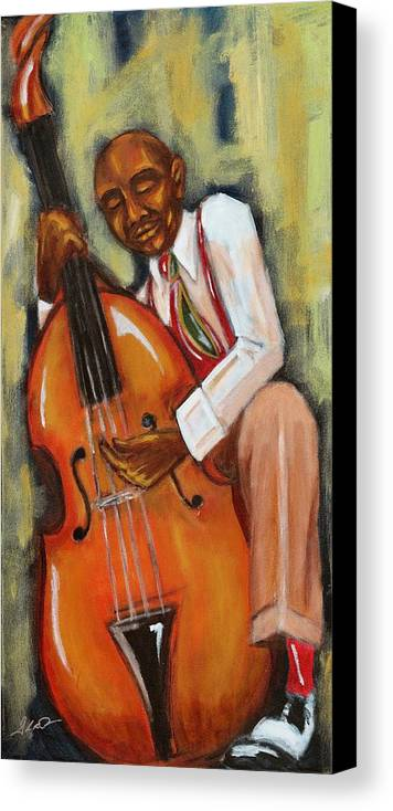 Jazz Art Canvas Print featuring the painting Bassman by Daryl Price