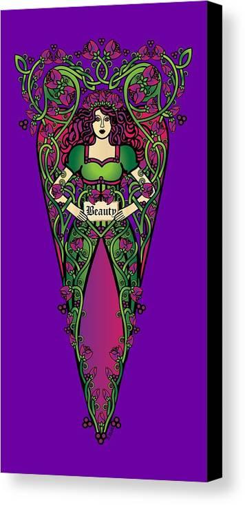 Fantasy Canvas Print featuring the digital art Celtic Forest Fairy - Beauty by Celtic Artist Angela Dawn MacKay