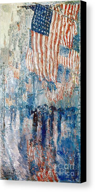 1917 Canvas Print featuring the photograph Hassam Avenue In The Rain by Granger
