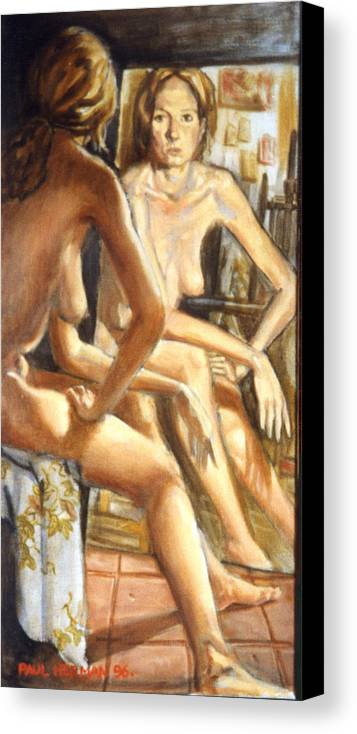 Nude Canvas Print featuring the painting Isabel With Mirror by Paul Herman