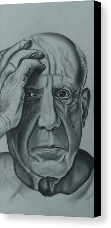 Pablo Canvas Print featuring the drawing Picasso by Ricardo Rodriguez