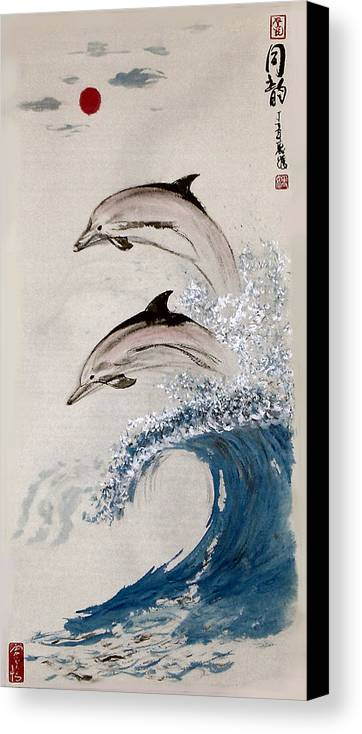 Dolphon Canvas Print featuring the painting Same Rhythm by Lilian Storino