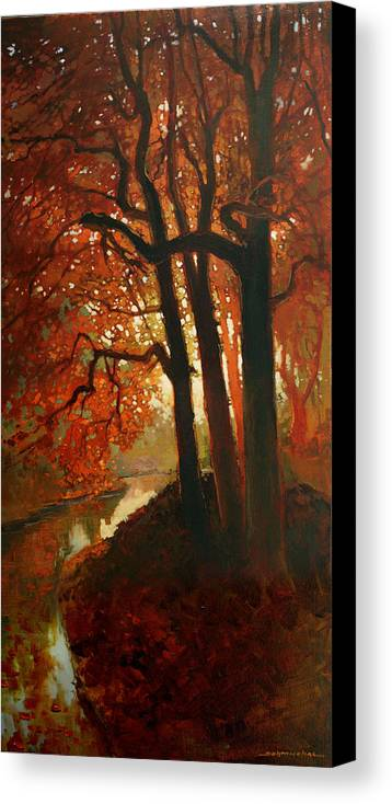 Landsvape Canvas Print featuring the painting Warm Light by Janice Schmuckal