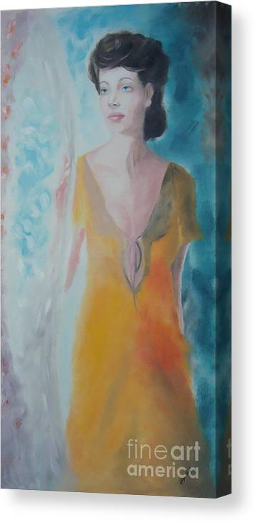 Woman Canvas Print featuring the painting Awaiting by Angela Melendez