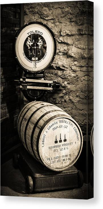 Bourbon Barrels Canvas Print featuring the photograph Weighing In by Karen Varnas