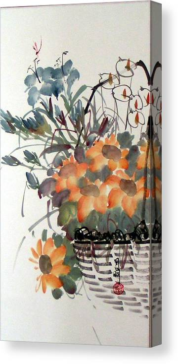 Chinese Painting Canvas Print featuring the painting Blossoming by Ming Yeung