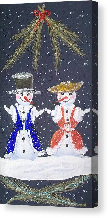 Snowman And Snowwoman Painting Canvas Print featuring the painting Love Is In The Air by Georgeta Blanaru