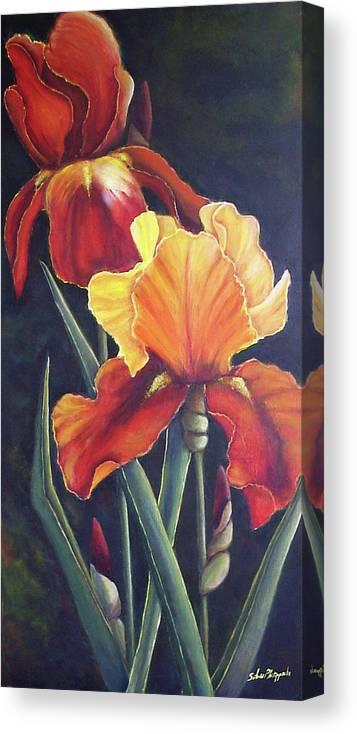 Iris Canvas Print featuring the painting Two Fiery Iris by Silvia Philippsohn