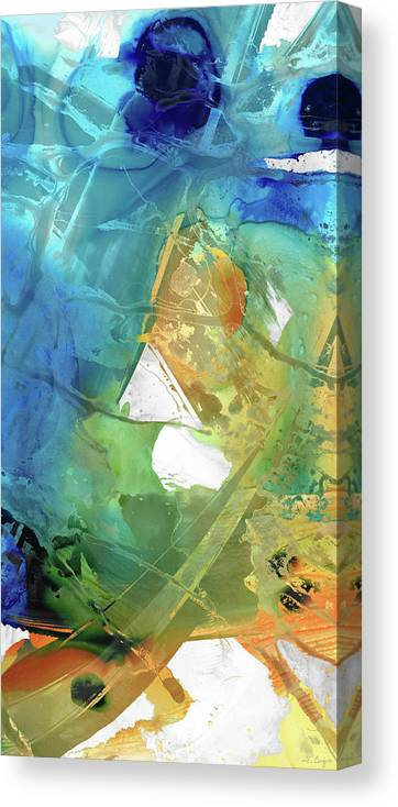Blue Canvas Print featuring the painting Blue And Orange Abstract Art - Good Vibrations - Sharon Cummings by Sharon Cummings