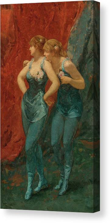 Charles Hermans Canvas Print featuring the painting Two Dancers, 19th Century by Charles Hermans