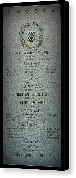 Military Canvas Print featuring the photograph 16th Infantry Regiment History by Rosanne Jordan