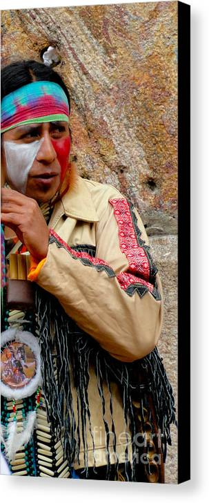 Al Bourassa Canvas Print featuring the photograph Quechuan Performer  Cuenca Ecuador by Al Bourassa