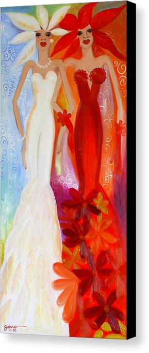 Haute Couture Artwork Canvas Print featuring the painting Pearl And June by Helen Gerro
