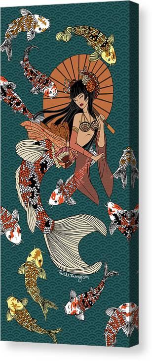 Koi Fish Canvas Print featuring the digital art Koi Mermaid 2/4 by Rachel Ann Rabago