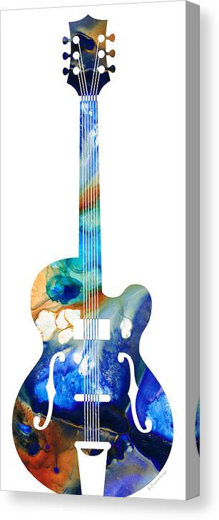 Guitar Canvas Print featuring the painting Vintage Guitar - Colorful Abstract Musical Instrument by Sharon Cummings