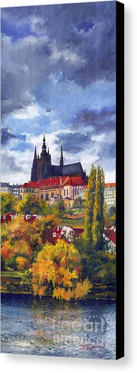 Prague Canvas Print featuring the painting Prague Castle With The Vltava River by Yuriy Shevchuk
