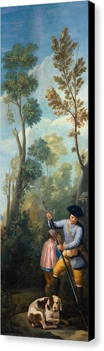 Animal Canvas Print featuring the painting A Hunter Loading His Shotgun by Francisco Goya