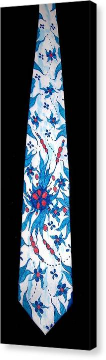 Hand Painted Ties Canvas Print featuring the tapestry - textile Hand Pinted Tie by Jordana Sands