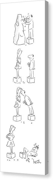 No Caption Four Panel Drawing. An Artist Chisels Out A Statue Of A Woman Canvas Print featuring the drawing New Yorker May 25th, 1987 by Arnie Levin