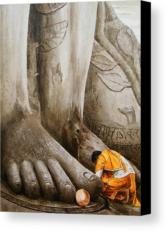 Feet Canvas Print featuring the painting At Feet by E Loganathan