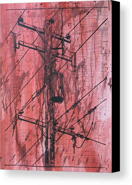 Lino Canvas Print featuring the drawing Pole With Transformer by William Cauthern