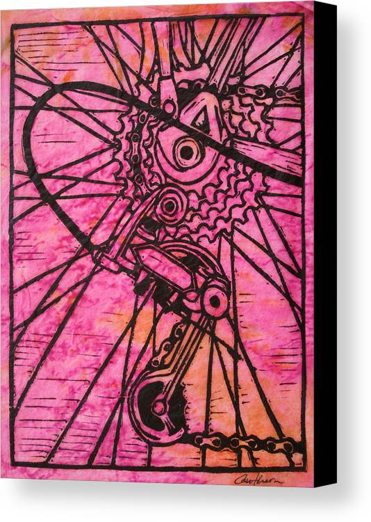 Printmaking Canvas Print featuring the drawing Derailluer by William Cauthern
