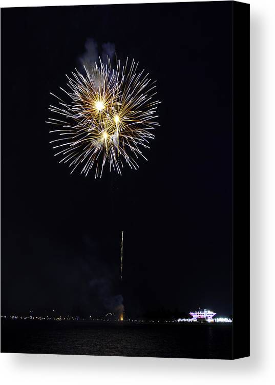 Firework Canvas Print featuring the photograph Fireworks Shell Burst Over The St Petersburg Pier by Jay Droggitis
