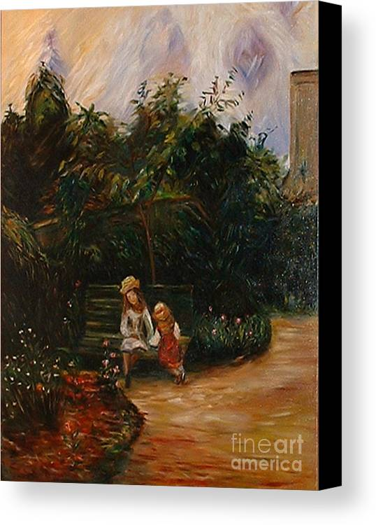 Classic Art Canvas Print featuring the painting A Corner Of The Garden At The Hermitage by Silvana Abel